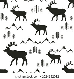 Seamless pattern, deers, mountains and fir-trees, hand drawn overlapping backdrop. Black and white background vector. Illustration animals. Decorative wallpaper, good for printing. Wild World