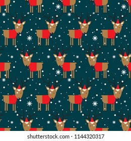 Seamless pattern, deers, snow, hand drawn overlapping backdrop. Colorful background vector. Design illustration. Decorative cute wallpaper, good for printing. Happy New Year. Winter time