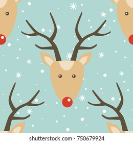 Seamless pattern, deers and snow, hand drawn overlapping backdrop. Colorful background vector. Illustration animals. Decorative wallpaper, good for printing. Happy New Year, greeting card. Winter time