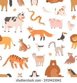 Seamless pattern design with cute baby animals on white background. Endless repeatable texture with monkey, tiger, bear and fox. Childish decoration for printing. Colored flat vector illustration