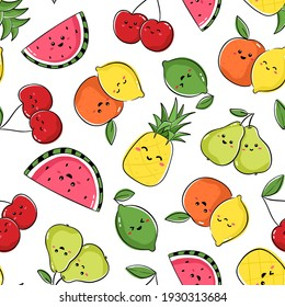 Seamless pattern design with cute fruit characters. Repeat tile with kawaii pineapple, melon, cherry, pear, orange, lemon and lime