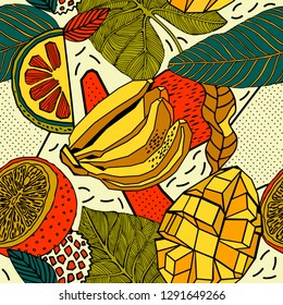 Seamless pattern design, exotic fruits and flowers.
