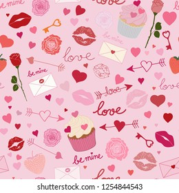 Seamless pattern design with hand drawn Valentine's Day motifs and symbols in shades of red and pink. Valentine's Day repeat pattern vector EPS10.
