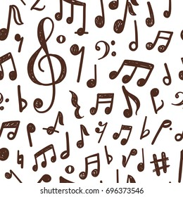 Seamless pattern design with hand drawn musical notes