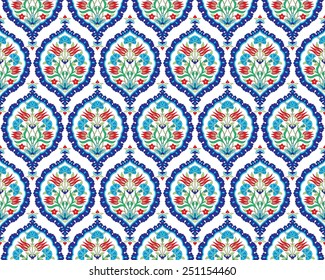 Seamless pattern design inspired by the Ottoman decorative arts
