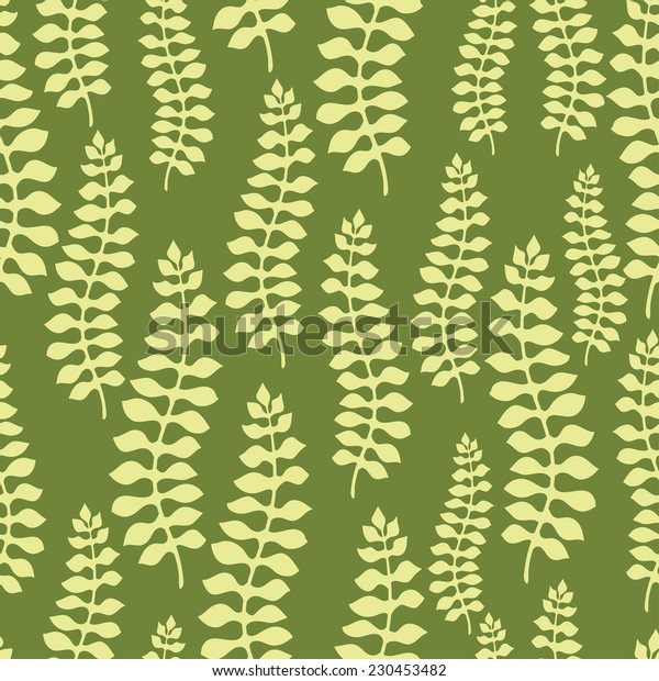 Seamless pattern design with stylized abstract leaves.