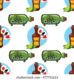 Seamless pattern for design surface on pirate theme. Bottle of rum and playing cards.