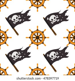 Seamless pattern for design surface Ship wheel.