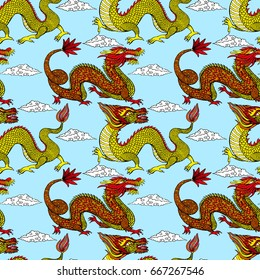 Seamless pattern design Tradition Asian Dragon Illustration. Asia's Four Little Dragons.