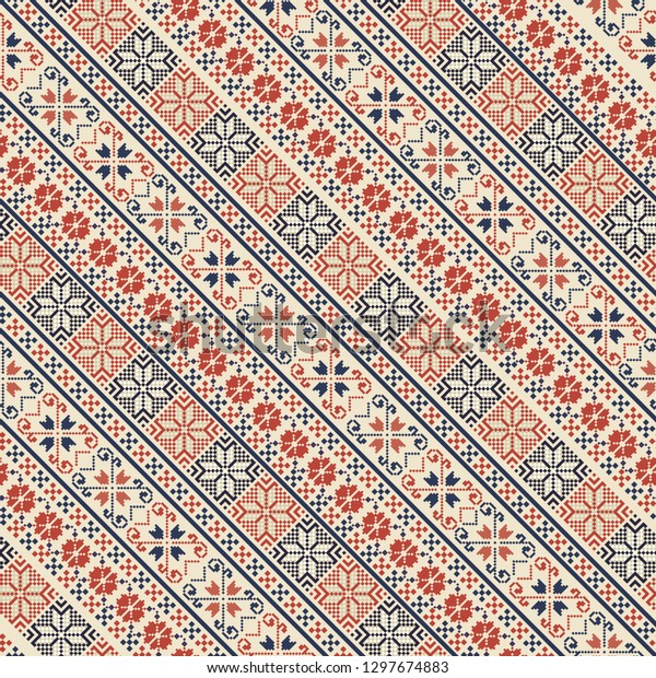 Seamless pattern design with traditional Palestinian embroidery motif