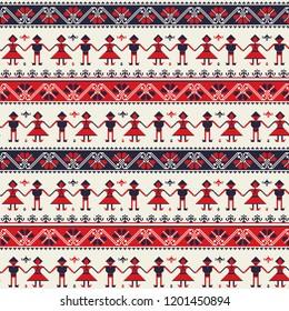 Seamless pattern design with traditional Romanian folk motif
