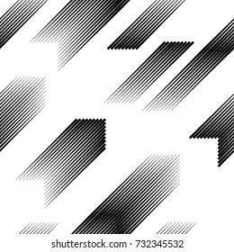 Seamless pattern with diagonal, oblique, slanting parallel speed lines.Triangles  unusual poster Design .Black Vector stripes .Geometric shape. Geometrical Endless texture .