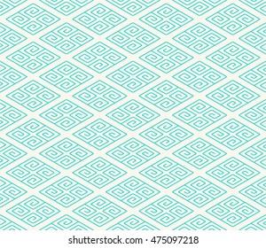 Seamless Pattern of Diamond Bricks Decorated With Chinese Scroll Pattern.