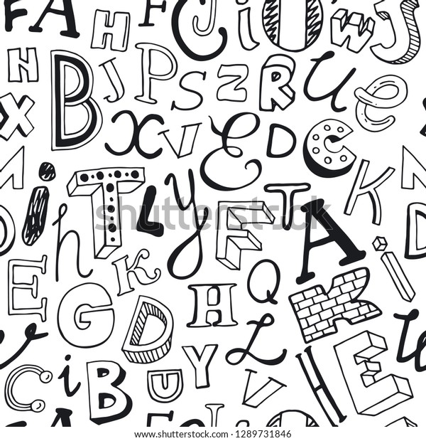 Seamless Pattern Different Alphabet Letters Vector Stock