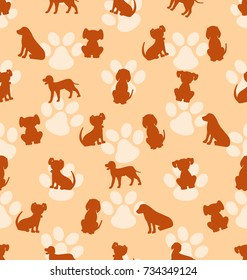 Seamless Pattern with Different Breeds of Dogs, Texture with Silhouettes Canines - Illustration Vector