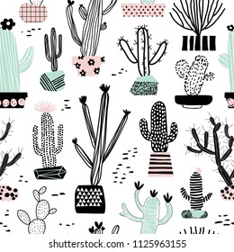 Seamless pattern with different cacti in flowerpots. Perfect for fabric, textile. Vector background. Hand drawn style