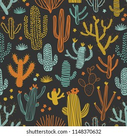 Seamless pattern with different cacti. Perfect for fabric, textile. Vector background.