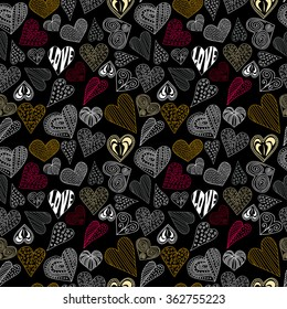 Seamless pattern with different colorful hearts on black background. Vector illustration for wedding design, textile and wallpaper design, web design, Valentine's cards etc.