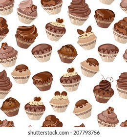 Seamless pattern with different cupcakes