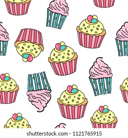 Seamless pattern with different cupcakes on white background. Cupcake background. Sweet pattern for wedding, birhday, greetings cards, web, print. Vector illustration.