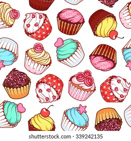 Seamless pattern with different cupcakes on a white background. Sweet pastries decorated with hearts, cherry, flower and star.