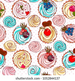 Seamless pattern with different cupcakes. Vector illustration.