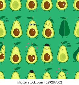 Seamless pattern with different cute avocados. vector illustration