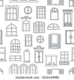 Seamless pattern with different cute vintage