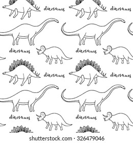 Seamless pattern of different dinosaurs: Diplodocus, Stegosaurus, Triceratops. Hand drawing. Vector.