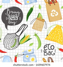Seamless pattern with different eco objects and lettering. Eco bag concept. Shopping bag, vegetable and leaf. Texture for textile, wrapping paper and packaging. Vector on checkered background.