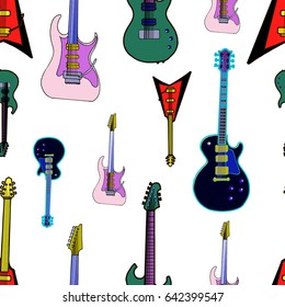 Seamless pattern. Different electric guitars. Rock, metal music symbols isolated on white background. Funny flat doodle style vector illustration. Endless texture for your design.