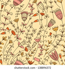Seamless pattern with different flowers