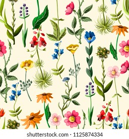 Seamless pattern with different flowers, such as roses, camomile, anemona and other.