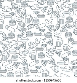 Seamless pattern with different foods. Design for banner and print.