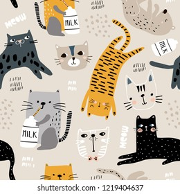 Seamless pattern with different funny cats and milk bottle. Creative childish texture. Great for fabric, textile Vector Illustration