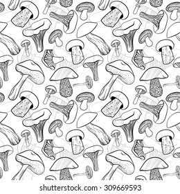 Seamless pattern with different hand drawn mushrooms in black and white