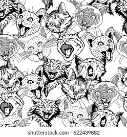 Seamless Pattern of Different Hand Drawn Heads Cat.