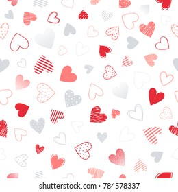 Seamless pattern with different hearts.Romantic  illustration perfect for design greeting cards, prints, flyers,cards,holiday invitations and more.Vector Valentines Day card.