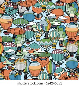 Seamless Pattern of Different Hot Air Balloons in the Sky. Hand Drawn illustration in Retro Style.