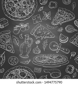Seamless pattern with different italian food - pizza, olive oil and vegetables on black shalkboard. Hand drawn vintage italian food collection for cafe and restaurants menu on black background.