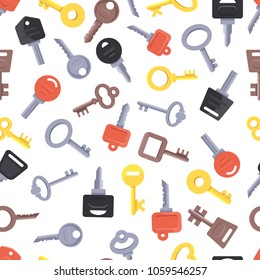 Seamless pattern with different keys. Background pattern with color key for open lock or door vector illustration