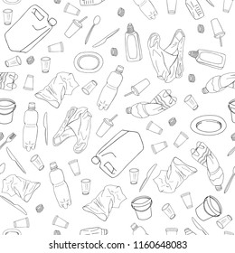 Seamless pattern with different kinds of plastic garbage isolate on white. The concept of ecology and World Cleanup Day.