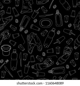 Seamless pattern with different kinds of plastic garbage isolate on black. The concept of ecology and World Cleanup Day.