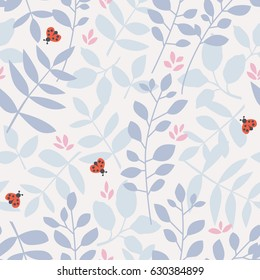 seamless pattern with different leaves and ladybugs