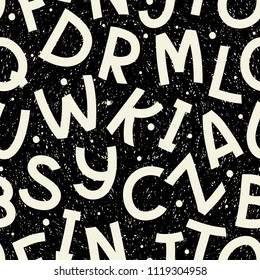 Seamless pattern with different letters. Freehand drawing