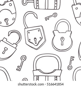 Seamless pattern with different locks.