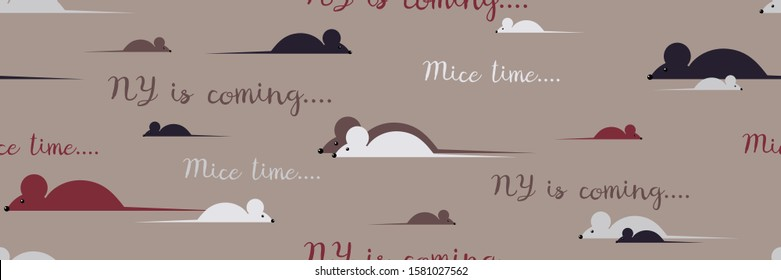 Seamless pattern with different mice.  Mouses walk alone and in pairs. NY is coming. Mice time.  Simple creamy toned background.  Vector illustration.