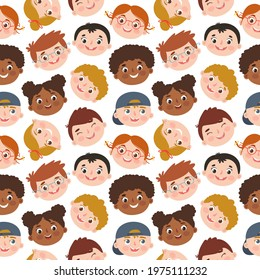Seamless pattern with different multiracial smiling kids faces. Children's vector faces with different hair and skin colors. Isolated on white background