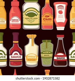 Seamless pattern of different sauces in glass bottles mayonnaise ketchup wasabi mustard vector illustration on dark background