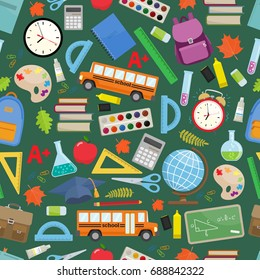 Seamless pattern with different school supplies on a green chalkboard background. Decoration elements for Back to school holiday. Vector